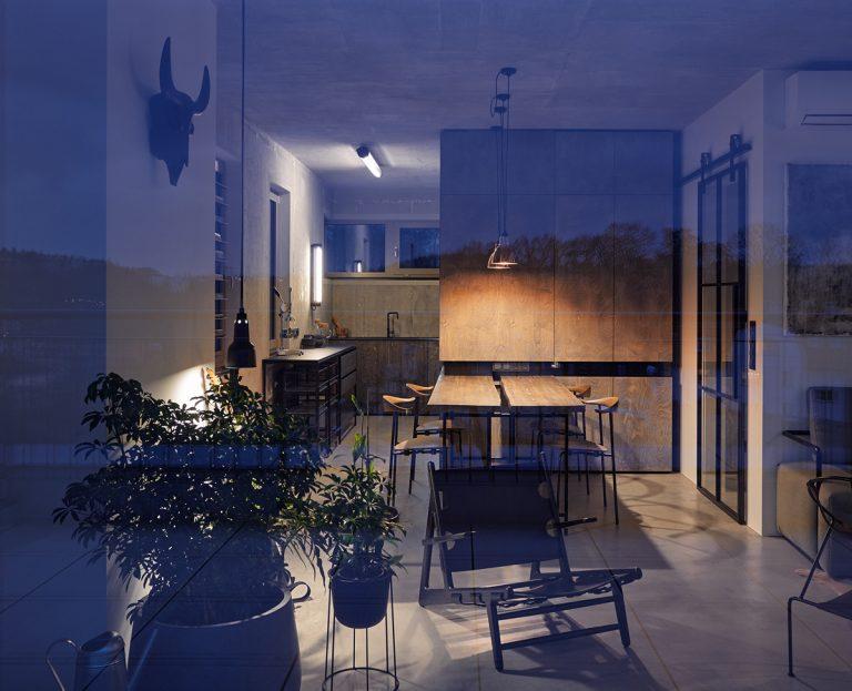 Industriálne ladený byt s atypickými doplnkami
