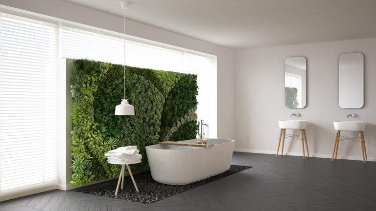 Ako si vytvoriť zelenú stenu v kúpeľni
