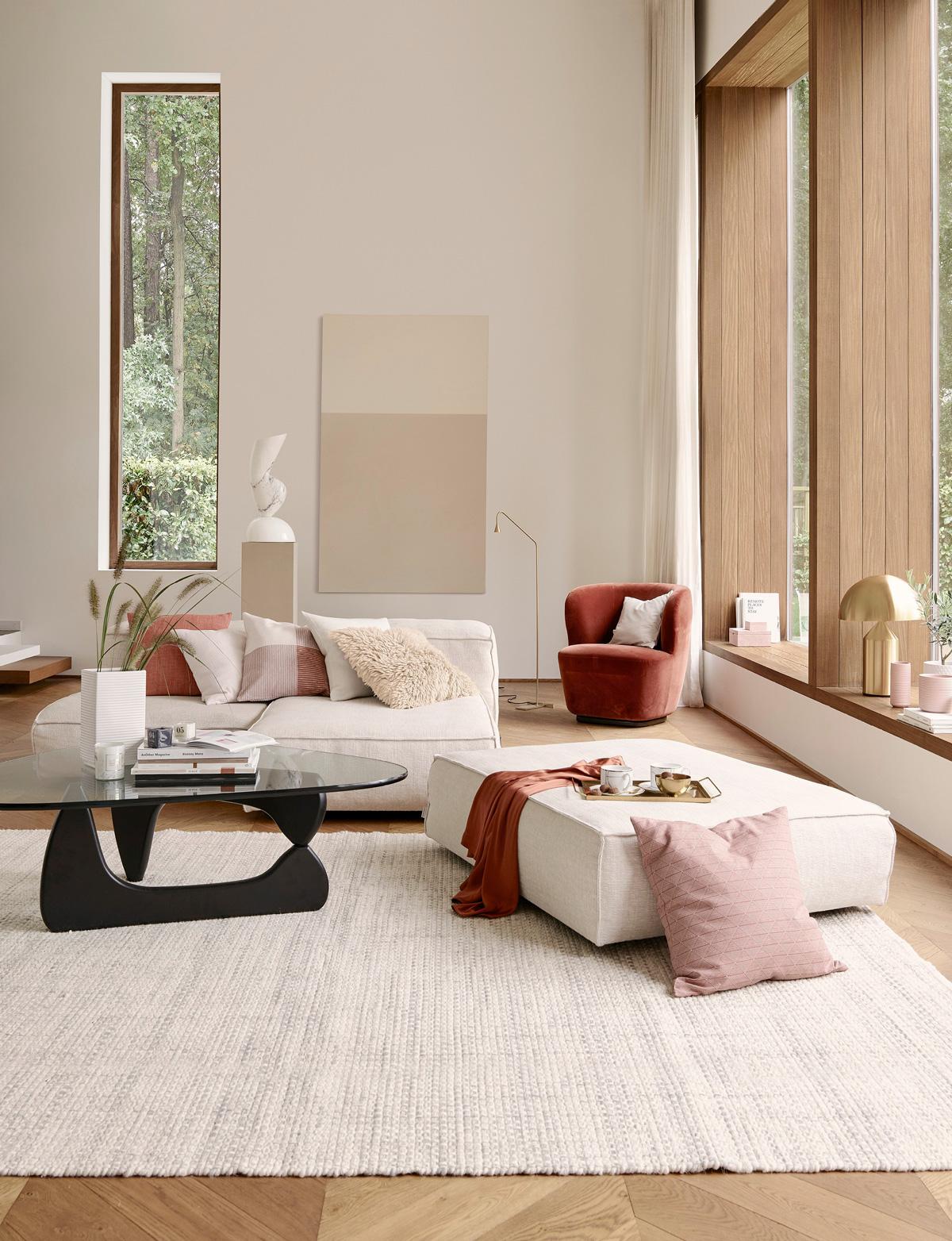 Pastelové farby v obývačke