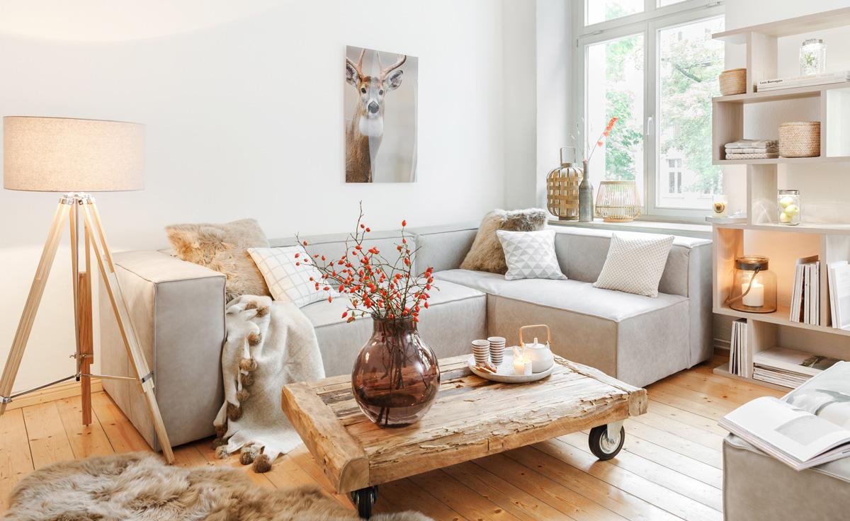 Obývačka v prírodnom štýle