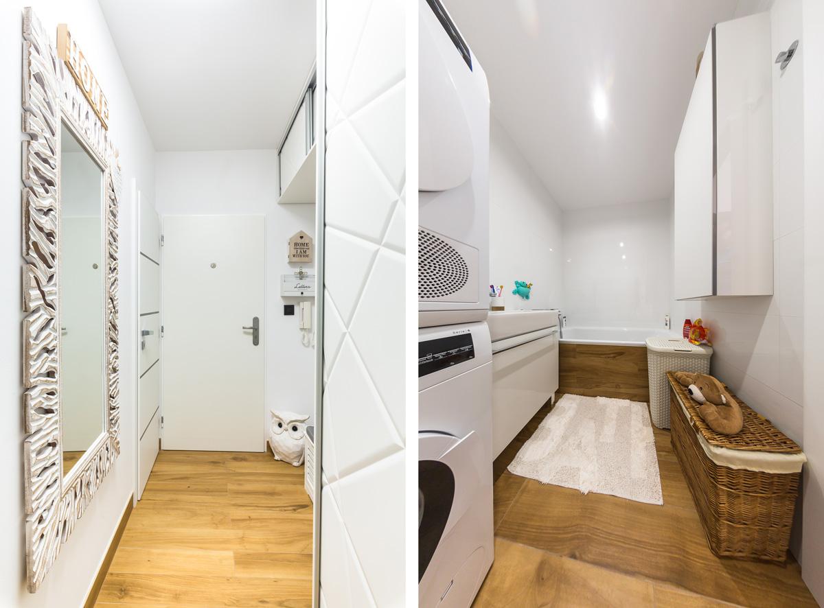 Kombinácia bielej a dreva v kúpeľni