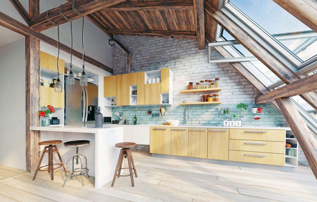 Kuchyňa v podkroví: Ako čo najlepšie využiť jej potenciál?