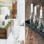 adventné sviečky v drevenom hrantíku a v sklenených fľašiach