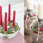 adventné sviečky v keramickej miske alebo hrnčekoch