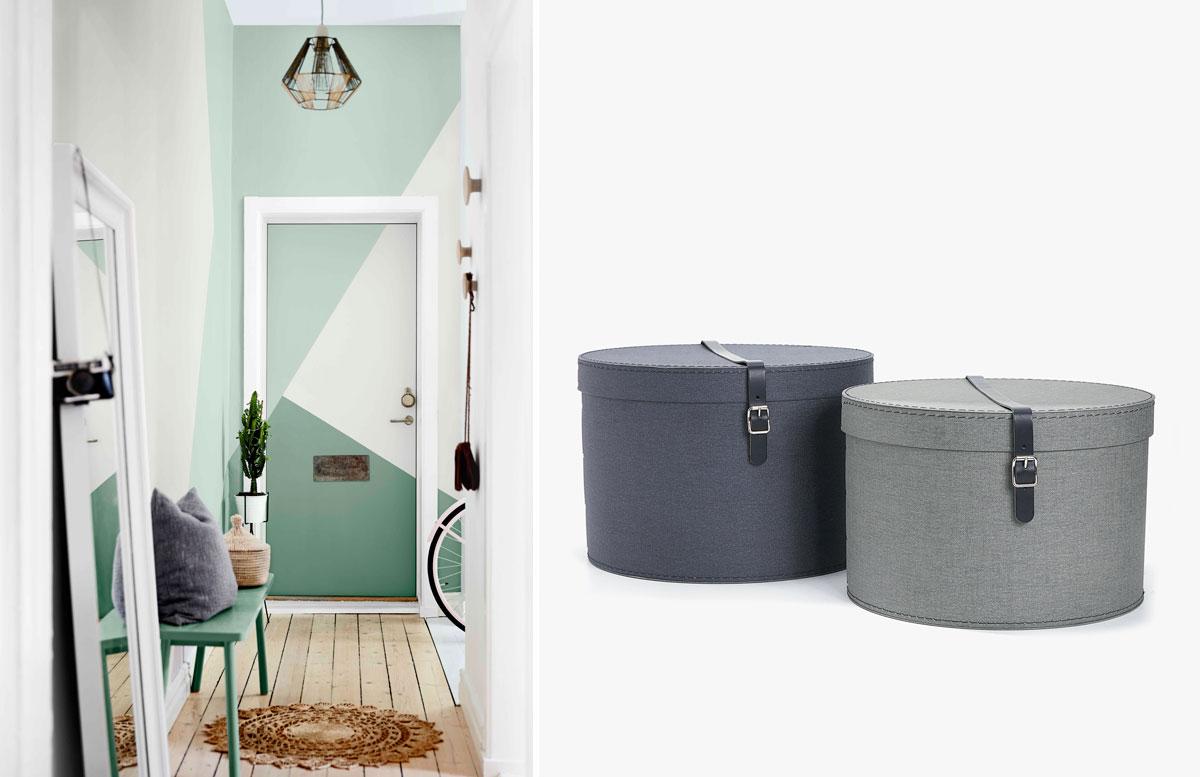 Foto vľavo: Dulux; Foto vpravo: Škatuľa s vrchnákom a ozdobným remienkom,  z lepenky, od 17,99 €, Zara home