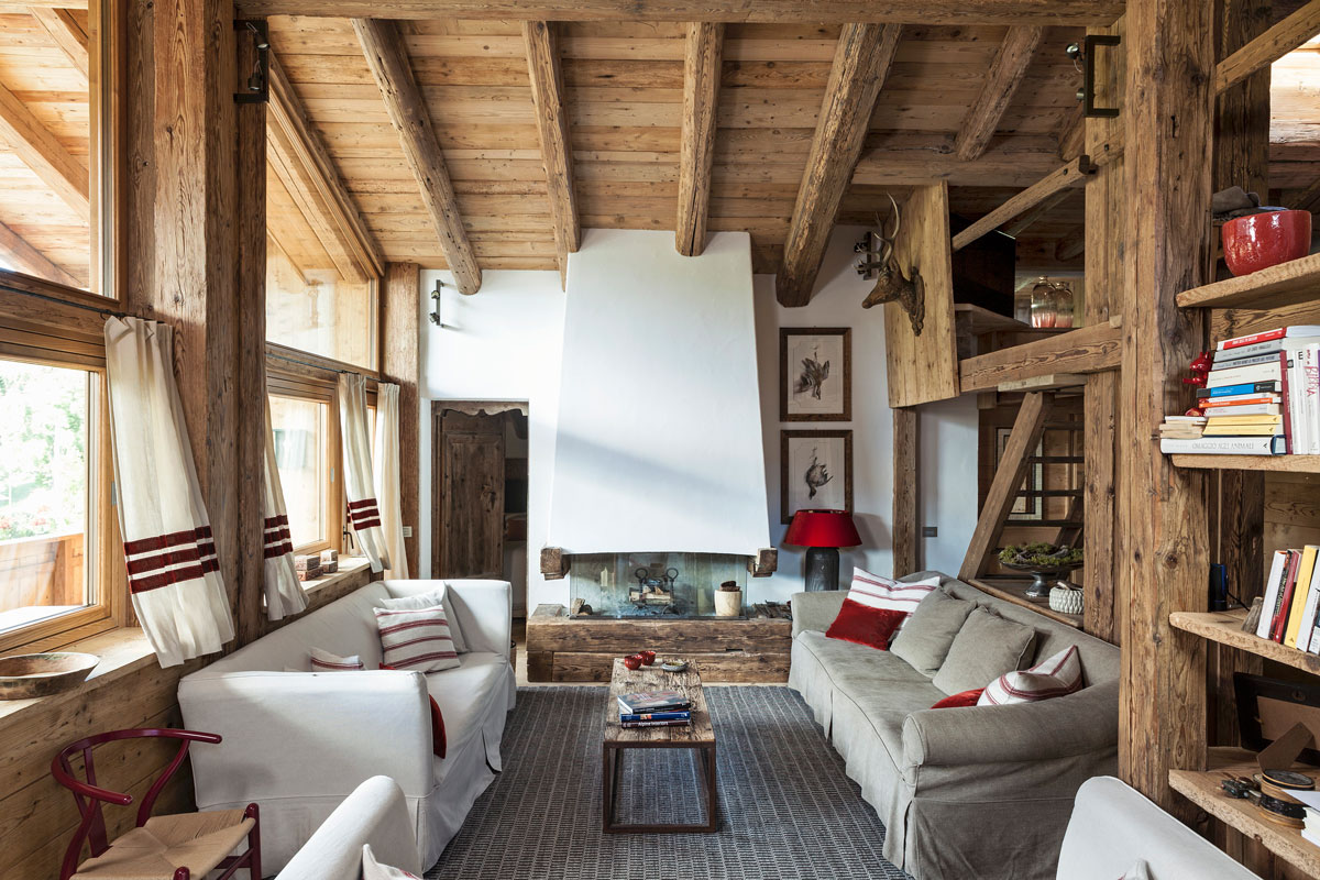 trendy v obývačke, drevo v interiéri