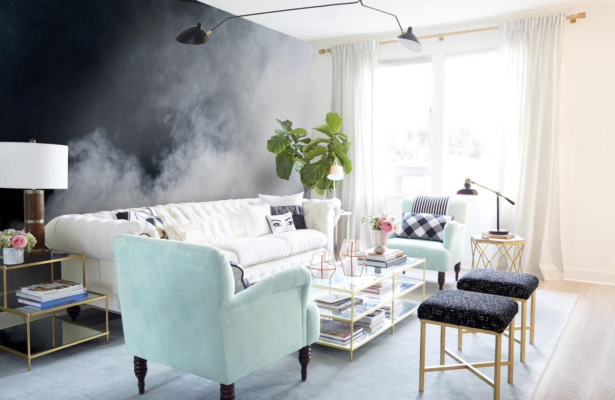 trendy v obývačke, glamour štýl