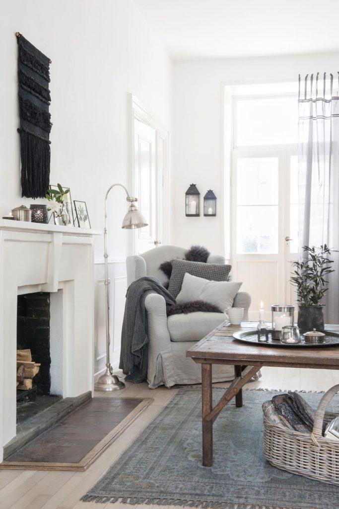 obývačka vo vidieckom štýle