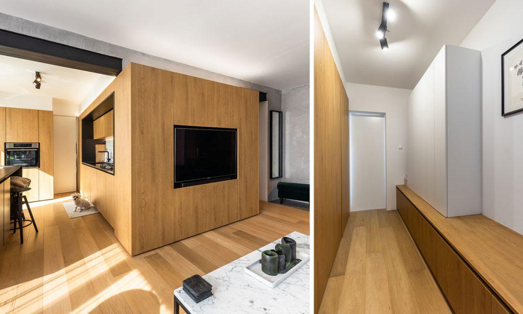 umakart nahradený drevom, dvere bez kľučiek