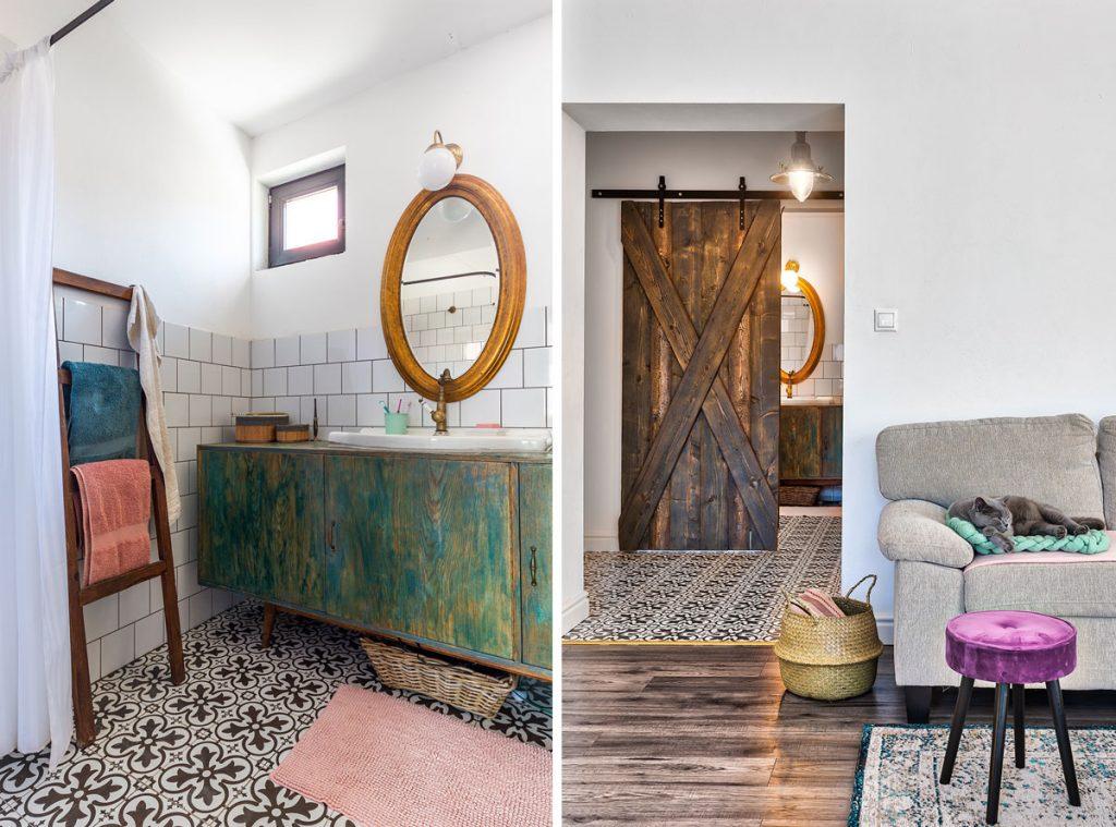 čiernobiela dlažba, barn doors posuvné dvere
