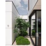 krušpány a muchovník zasadené do priestoru malého átria moderného rodinného domu