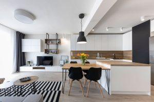 obývačka s kuchyňou zariadená v škandinávskom štýle, v čieno-bielej kombinácii s drevom