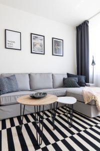 obývačka v škandinávskom štýle zariadená so sivou pohovkou, pruhovaným čiernobielym kobercom a obrazmi na stene