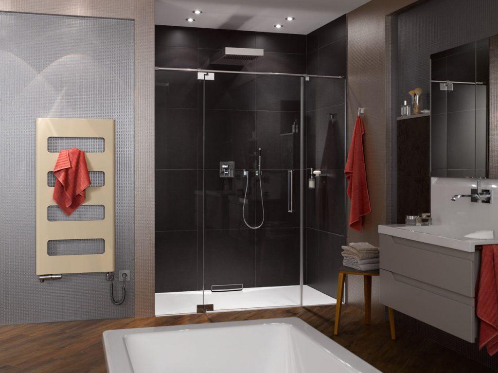 kúpeľňa v tmavom elegantnom prevedení s dizajnovým závesným radiátorom