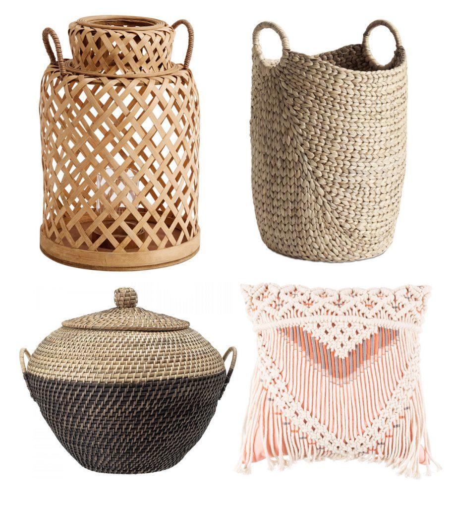 bambusový lampáš, pletený kôš, pletený košík s vekom, tkaný vankúš