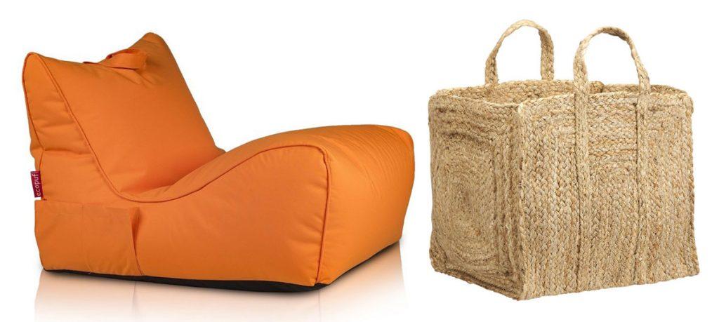 sedací oranžový vak, pletený jutový kôš