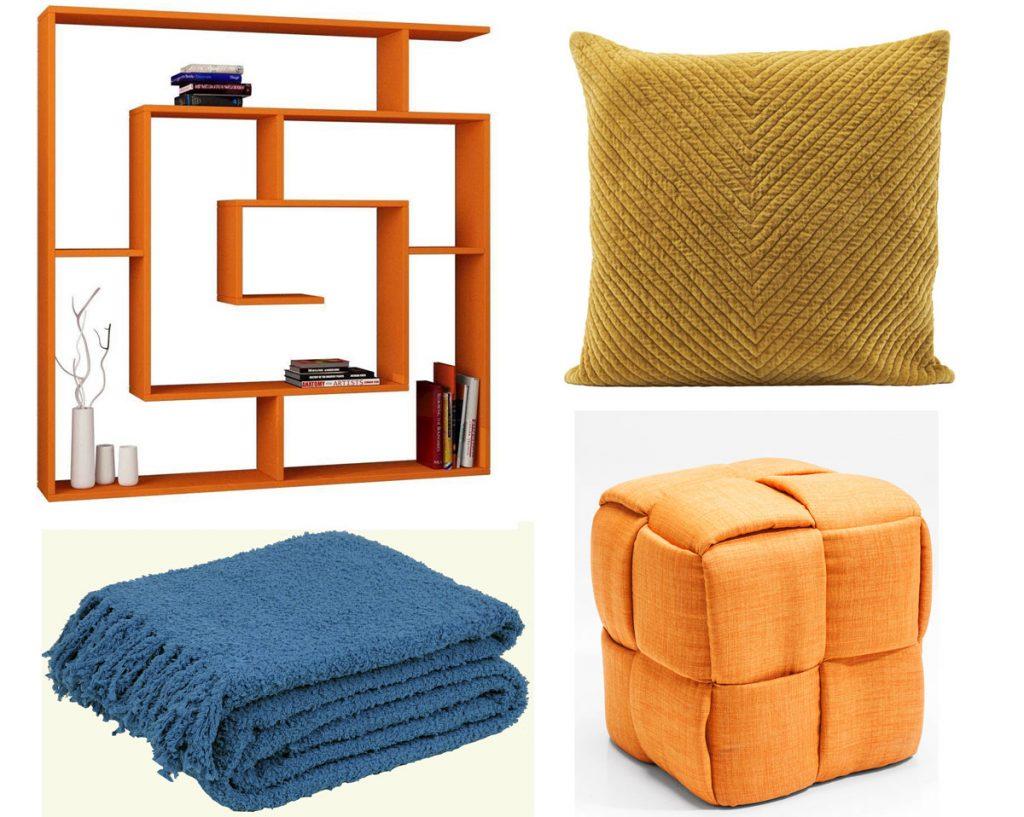 oranžová knižnica, vankúš v karí farbe, prikrývka v modrej farbe, oranžová taburetka