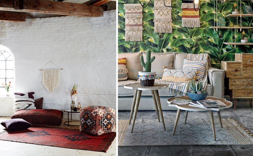 interiér zariadený v boho štýle, s dekoráciami závesných makramé, mohutnými vankúšmi, taburetkami a inými textíliami s marockými vzormi