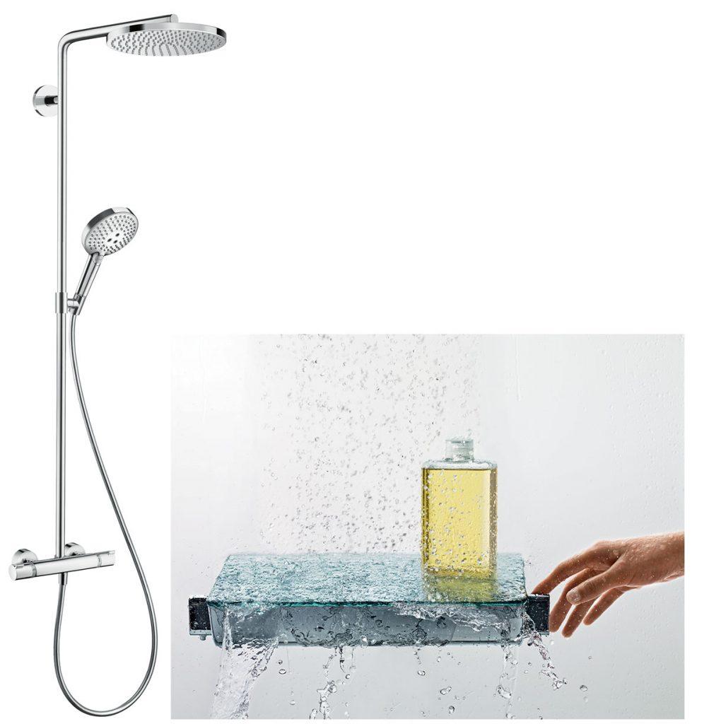 sprchová hlavica s efektom dažďa a okrasný termostat
