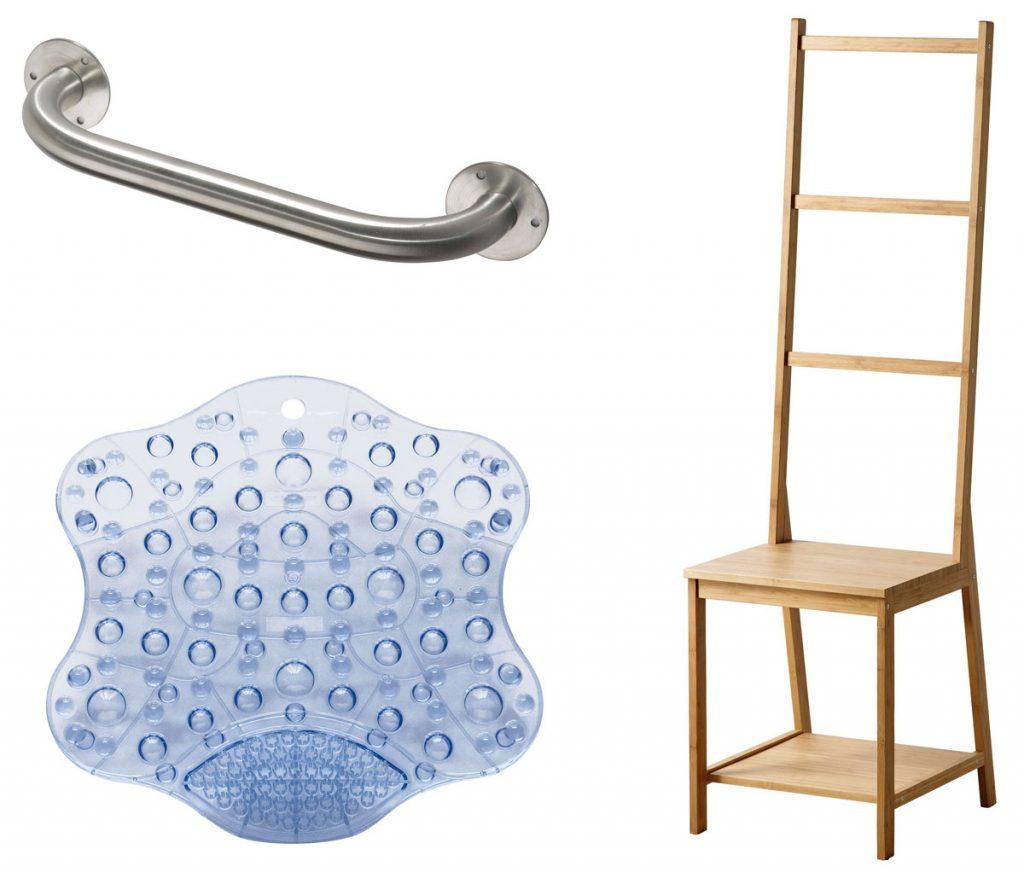 oceľové držadlo do kúpeľne, protišmyková podložka do vane a drevená stolička s vešiakom na uteráky