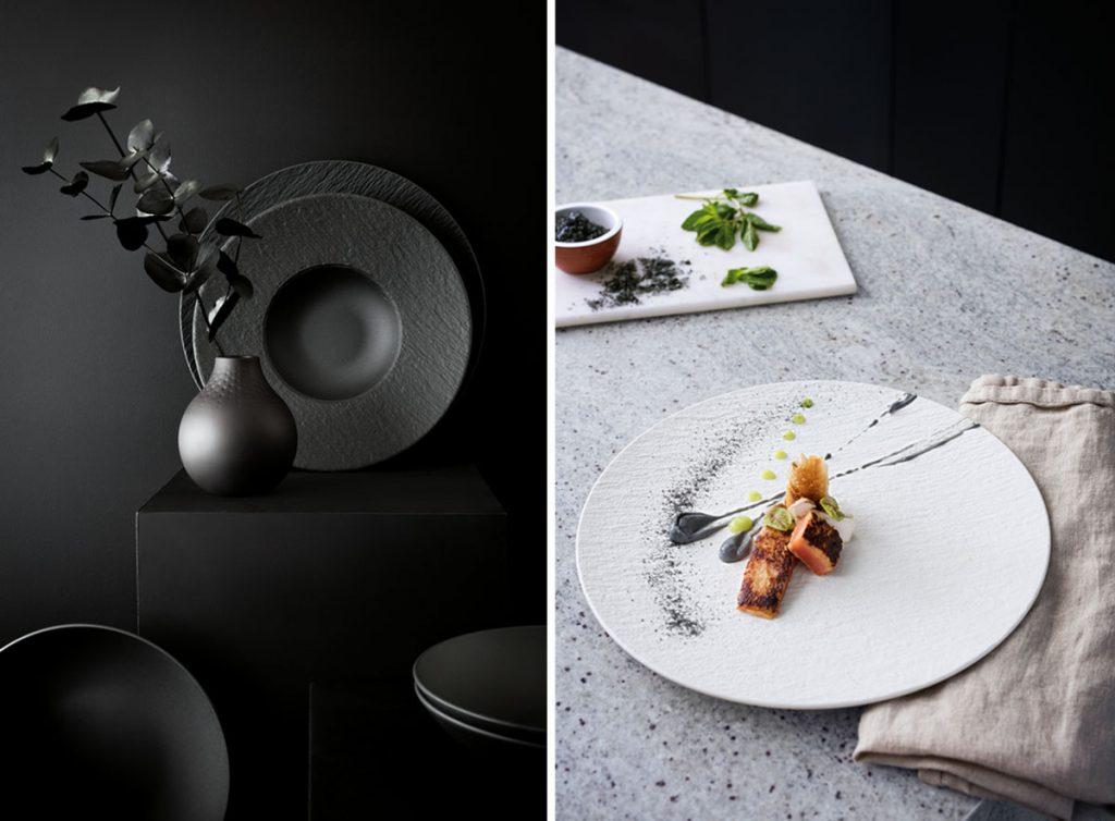 kolekcia Manufacture Rock vo forme matného bridlicového brúseného porcelánu v bielej a čiernej farbe