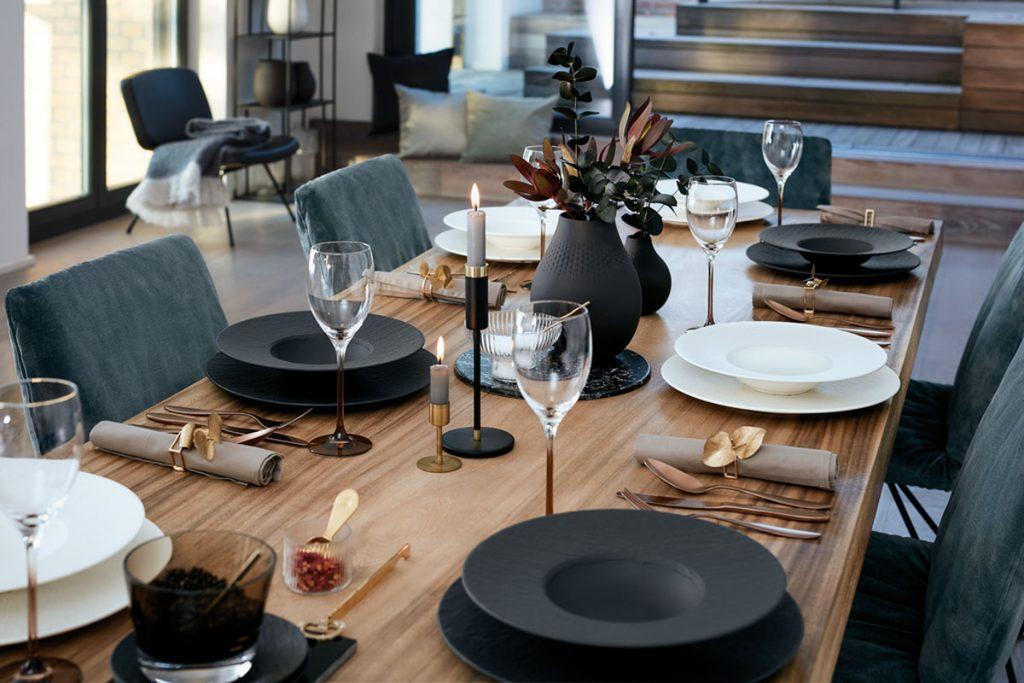 stolovanie s kolekciou Manufacture Rock vo forme matného bridlicového brúseného porcelánu v čiernej farbe