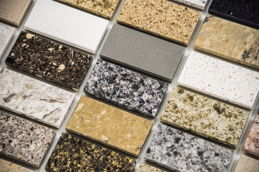 vzorky granitových kuchynských pracovných dosiek z prírodného kameňa