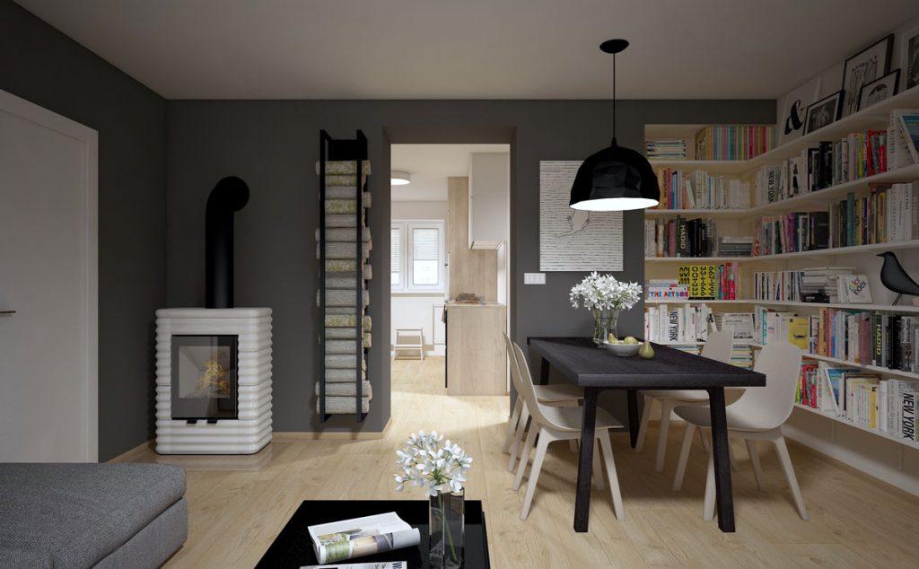 Vizualizácia obývačky s jedálňou, s pohľadom na jedálenský stôl a knižnicu s funkčným krbom. Miestnosť je navrhnutá v modernom severskom štýle