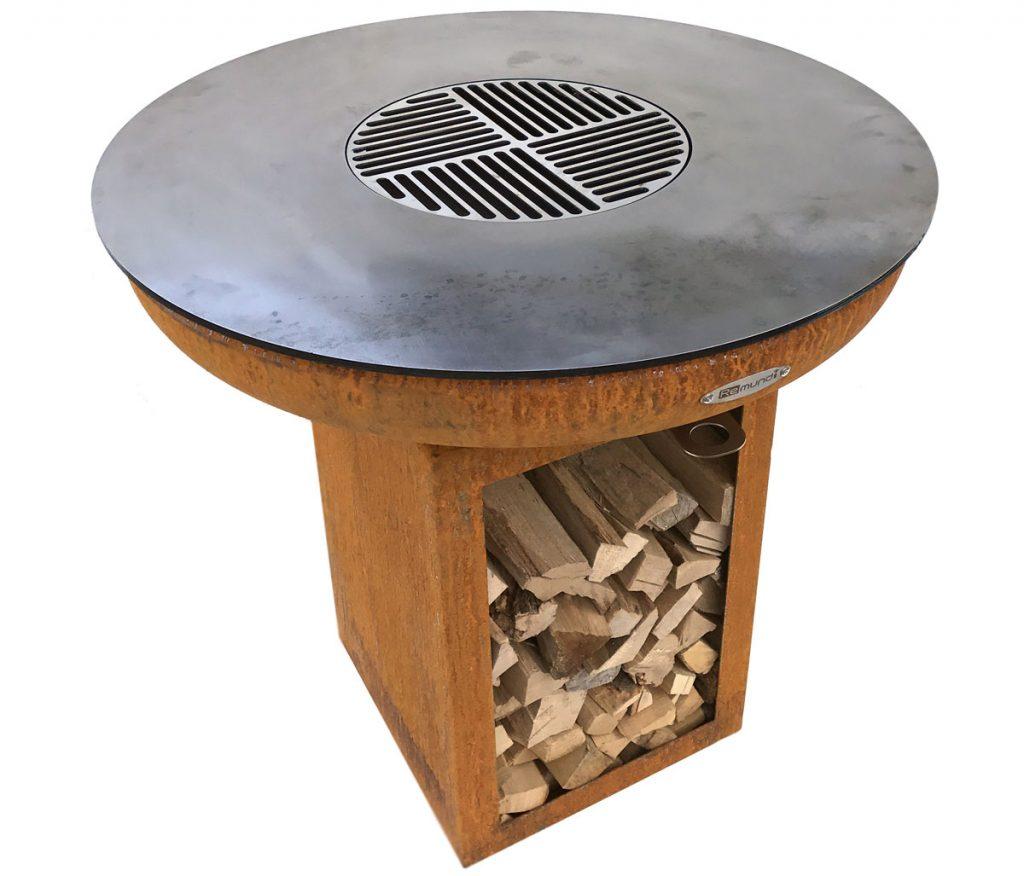 dizajnové okrúhle ohnisko na drevo aj drevené uhlie so zásobníkom dreva