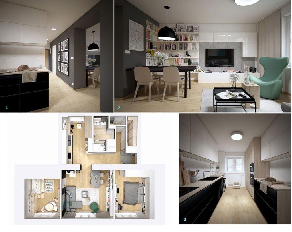 vizualizácia kuchyne a obývačky bytu z 50. rokov v modernom severskom štýle