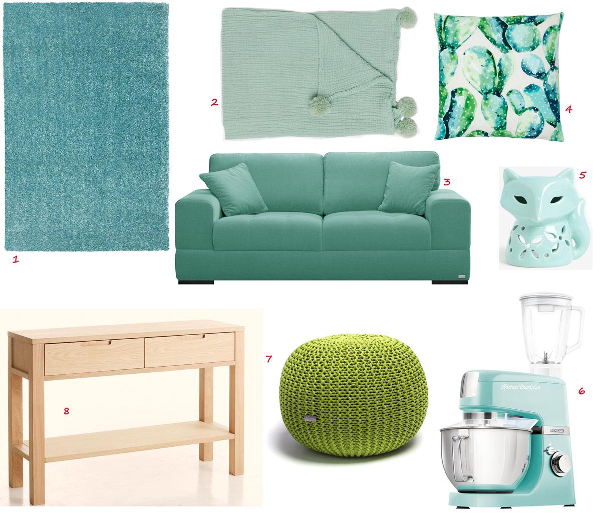 tyrkysový koberec s nízkym vlasom, bavlnená mentolová deka, mentolová pohovka, bavlnená obliečka na vankúš so vzorom kaktusov, mentolová aromalampa líška, zelený pletený puf, mentolový kuchynský robot s mixérom a nádobou na miešanie, stolík z dyhy