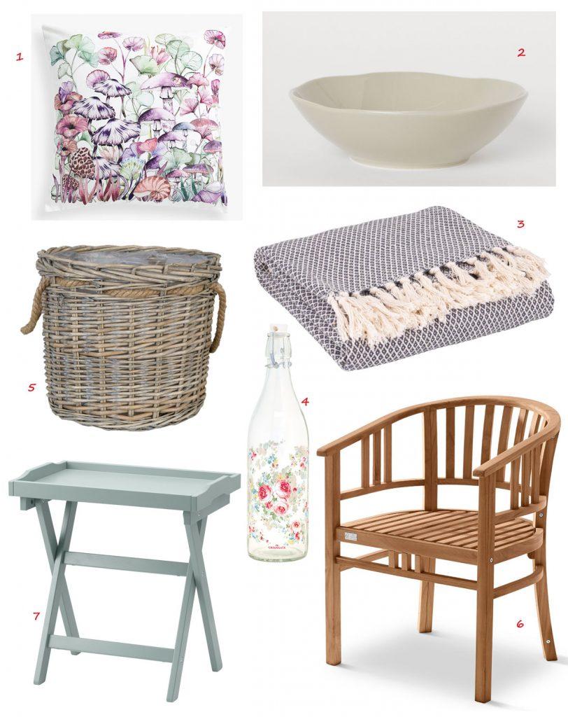obliečka na vankúš so vzorom hríbov, miska z emailu s nepravidelným okrajom, bavlnená deka, sklenená fľaša s kvetovaným vzorom, záhradná drevená stolička, pletený prútený kvetináč