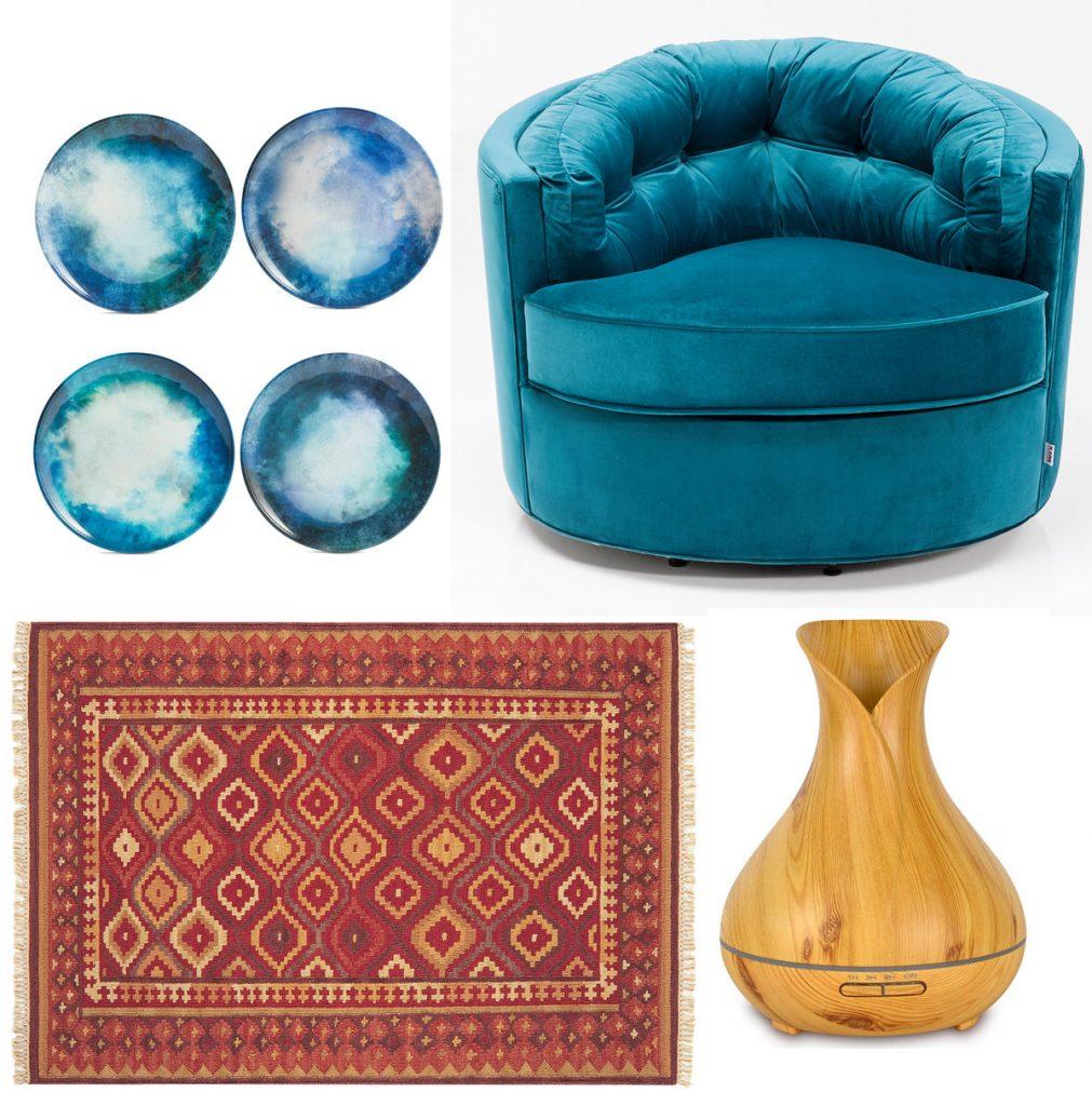 súprava tanierov s rozpíjaným modrým efektom, modré okrúhle kreslo, aróma difúzer s LED osvetlením, vzorovaný koberec z vlny a juty
