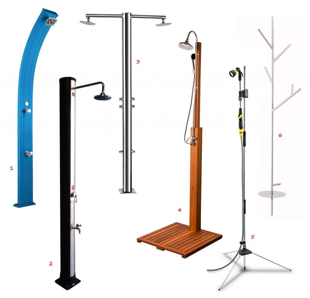 solárna modrá sprcha z hliníku, solárna čierna plastová sprcha, dvojramenná exteriérová sprcha, záhradná drevená sprcha, záhradná sprcha, antikorová sprcha