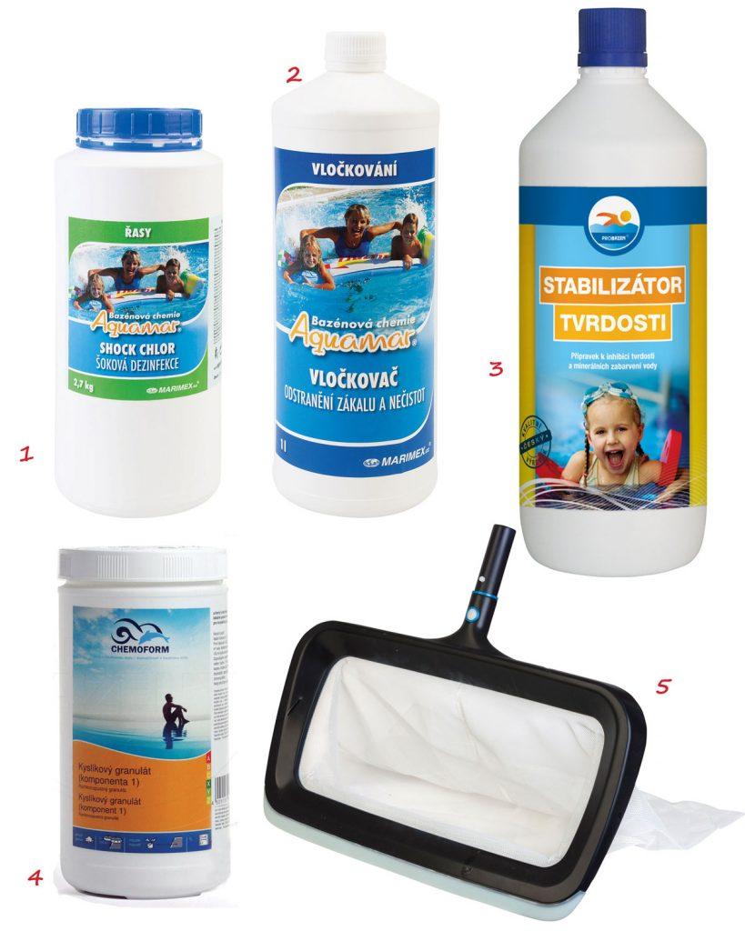 chlórové tablety na čistenie bazéna, vločkovač, stabilizátor tvrdosti vody, aktívny kyslík granulovaný, sieťka na čistenie dna bazéna