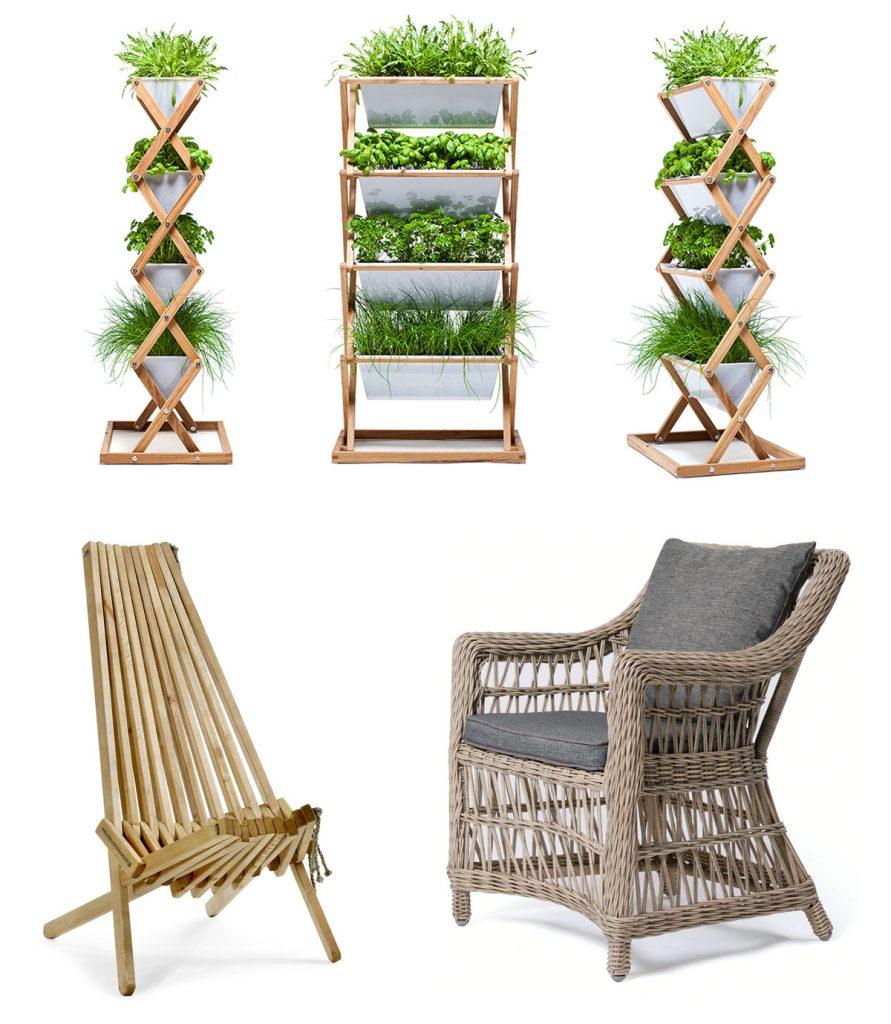 tri vertikálne záhrady z dreva a PETG, ratanové kreslo, brezové kreslo