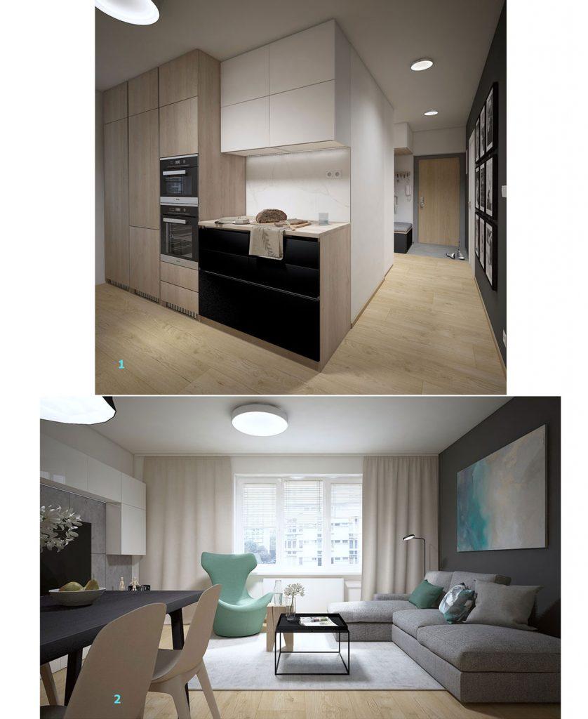 Vizualizácia kuchyne s obývačkou v severskom štýle
