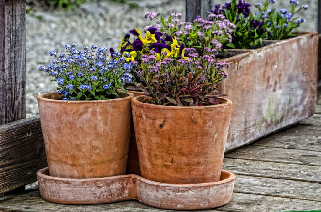 mix kvetov v okrúhlych a hranatých vypaľovaných hlinených kvetináčoch