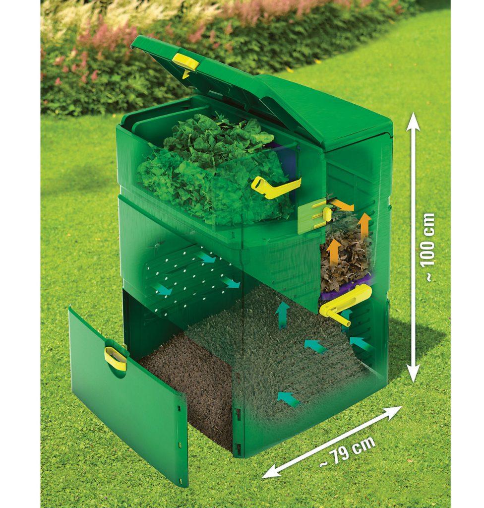 pohľad do vnútra kompostéru