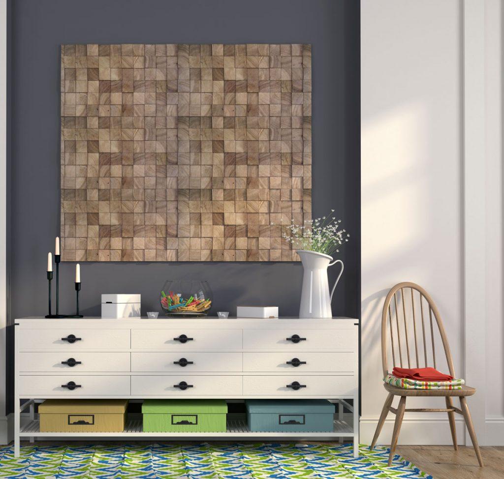 3D drevený obklad na stene