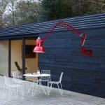 XXL červená lampa do záhrady