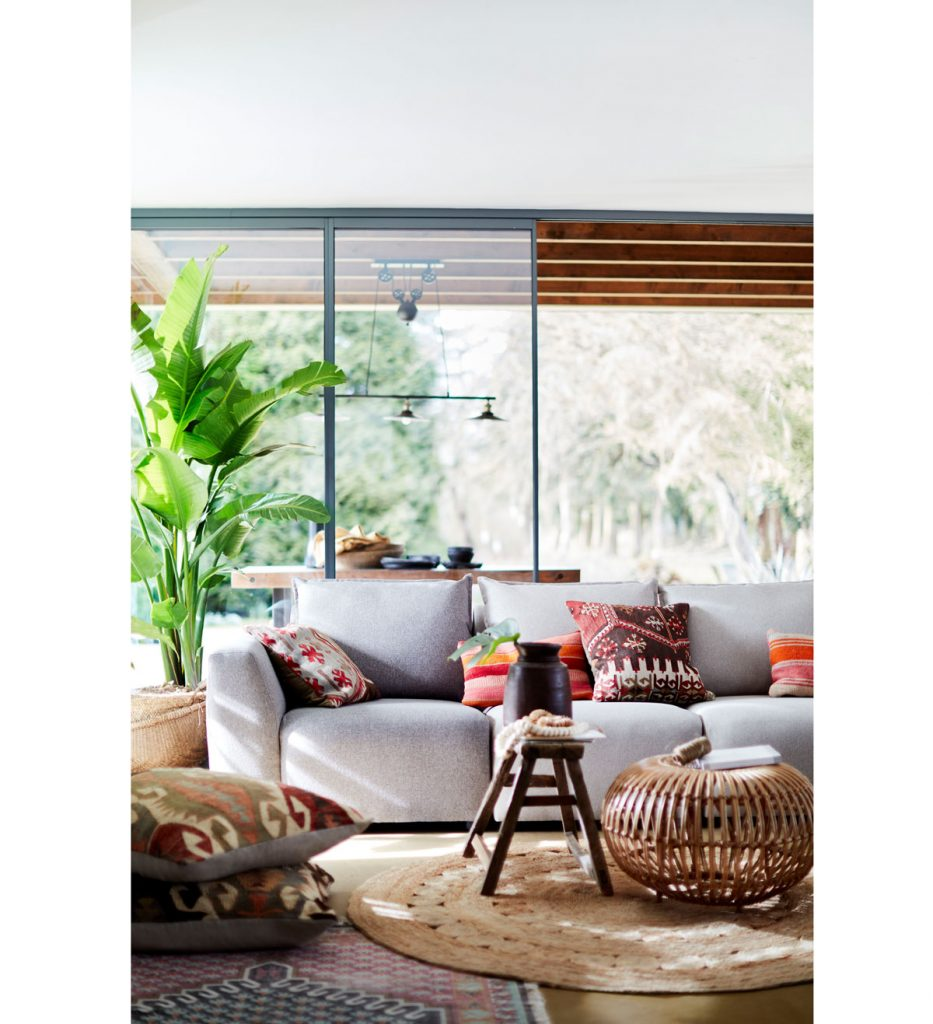 obývačka v natur štýle, v ktorej je veľká tropická rastlina, neutrálna pohovka s farebnými vankúšmi a pletený prírodný koberec