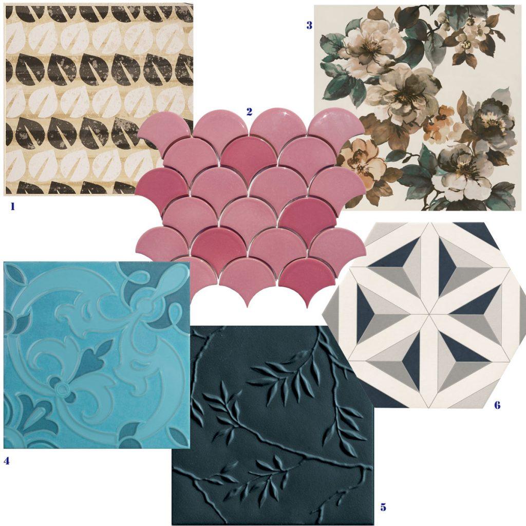 vzorky keramických obkladov vo vzore listov, kvetín, geometrickým vzorom a vystúpenými reliéfmi