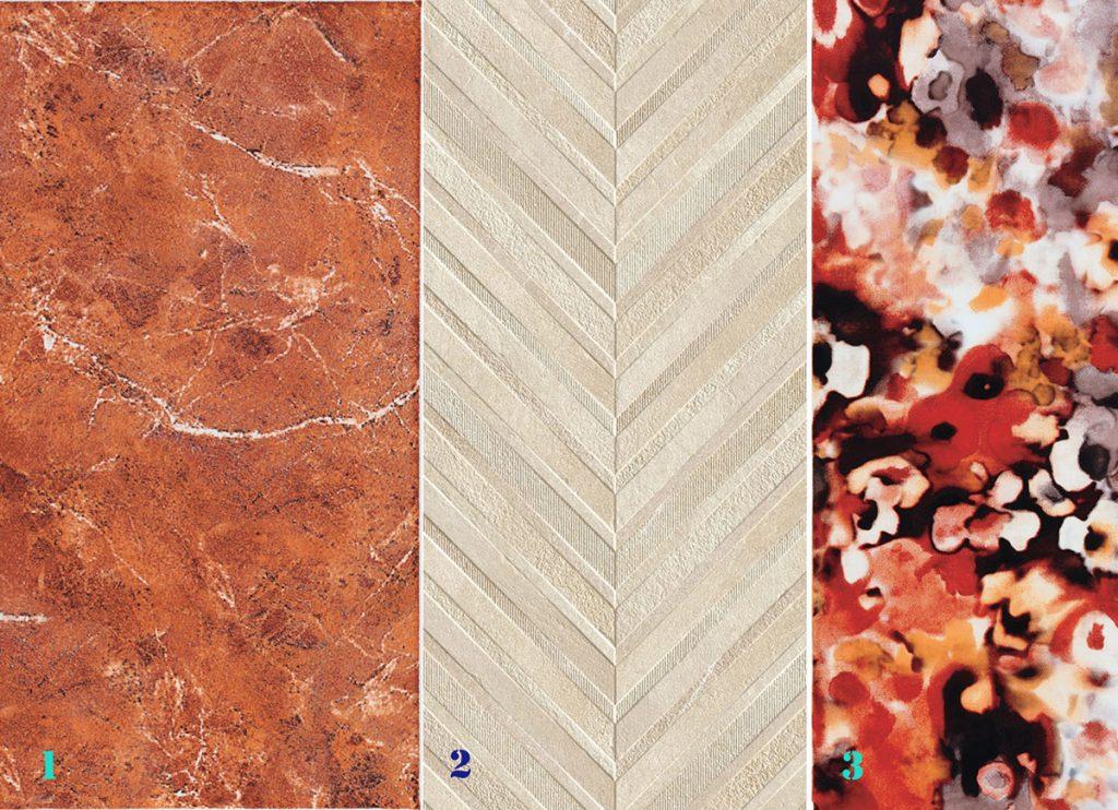 keramický obklad pieskovej farby s V vzorom, keramický obklad v hnedej imitácia kameň, keramický obklad s abstraktným motívom