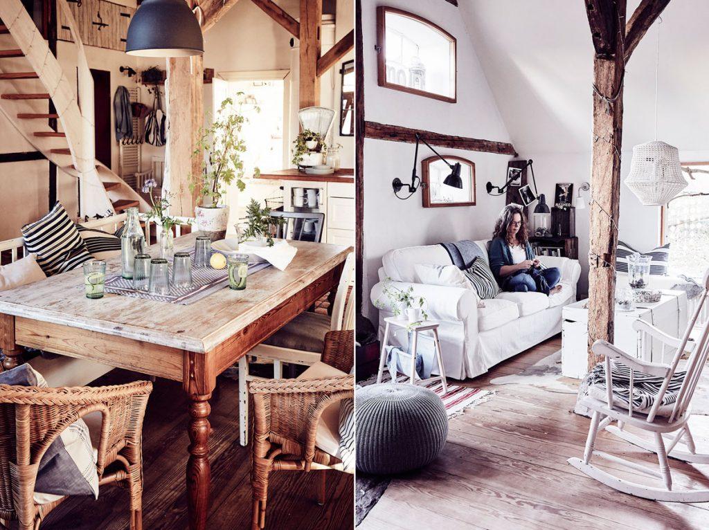 vidiecka jedáleň s masívnym stolom a prútenými kreslami, vidiecka obývačka s bielym nábytkom, drevenou podlahou a drevenými trámami