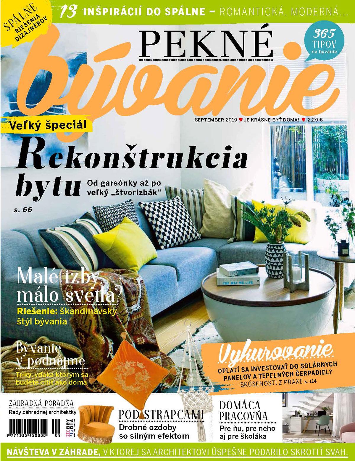 nové vydanie časopisu Pekné bývanie september 2019