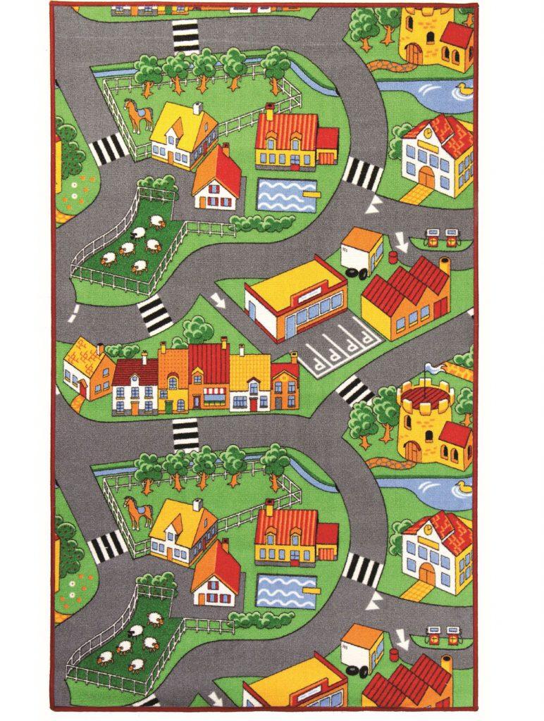 Breno detský koberec s motívom dedinky