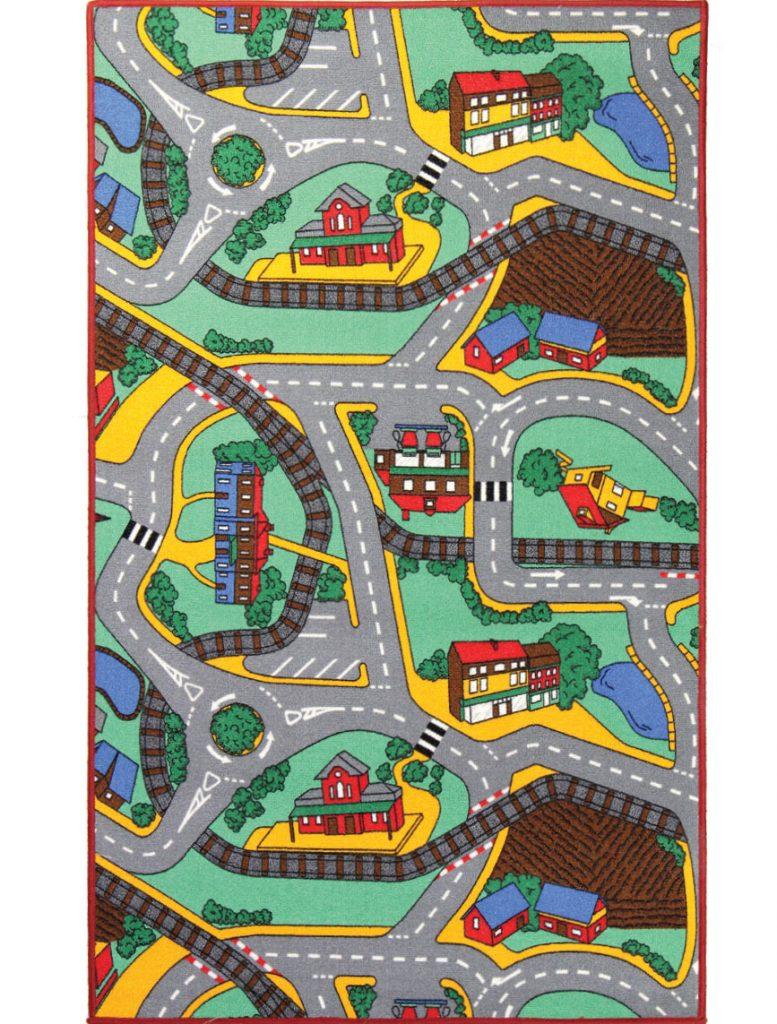 Breno detský koberec pre chlapcov s motívom železnice