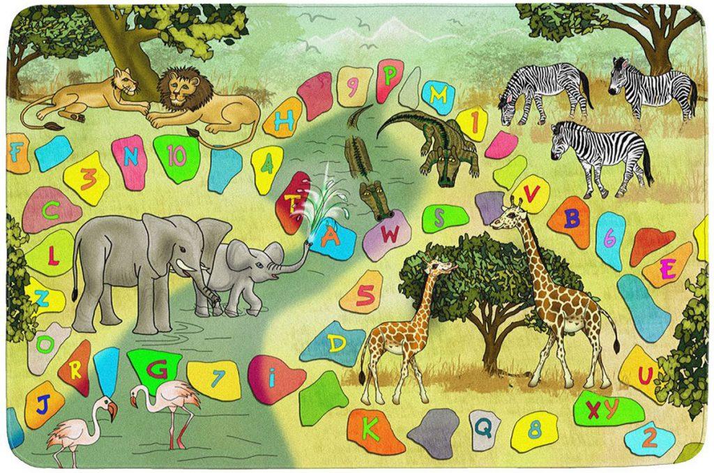 Breno detský koberec s motívom safari na výučbu písmen a číslic