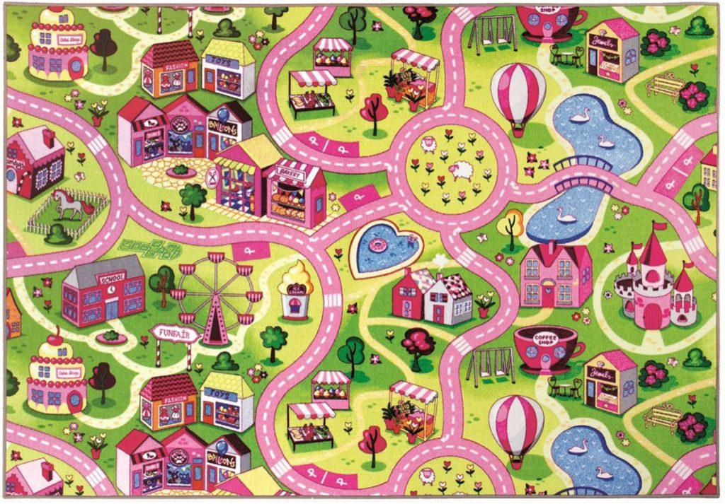 Breno detský dievčenský koberec s motívmi mestečka so sladkosťami